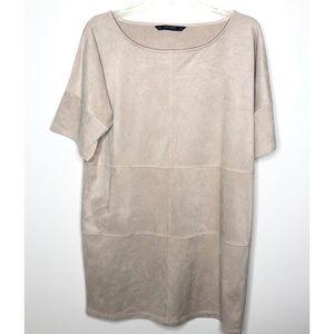 Zara basic collection light tan shift dress Size S
